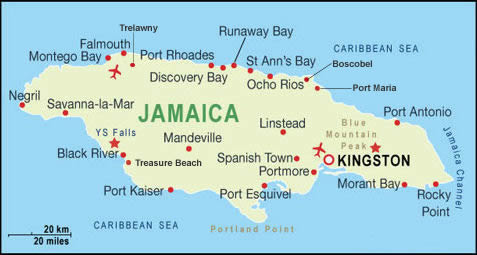 Jamaica Holiday Resorts Map
