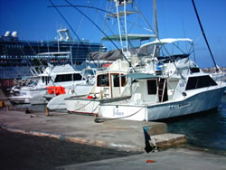 deep sea fishing boat at dock